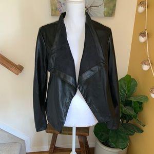 BB Dakota black faux leather draped jacket blazer